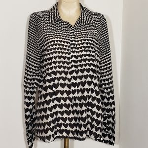 Halogen black & white button down blouse size Med